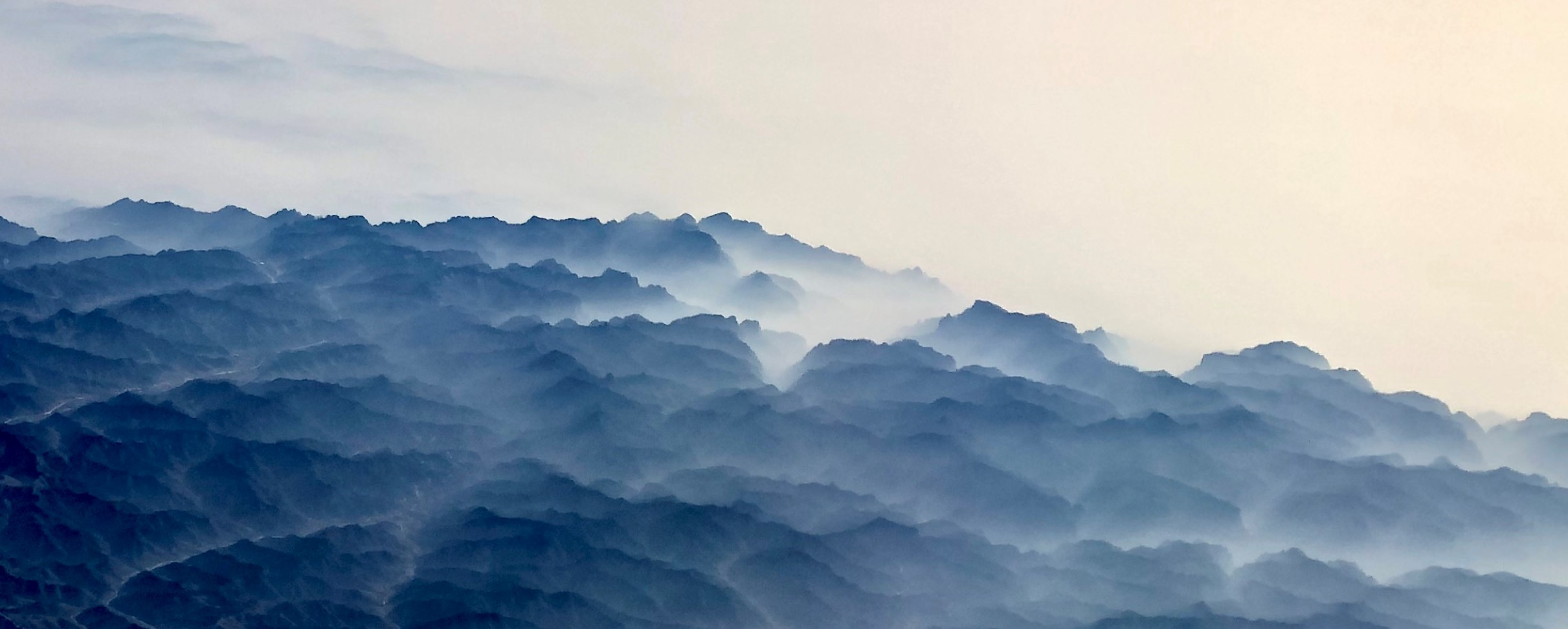 Like a Chinese watercolor painting - Mongolian dawn shot from above